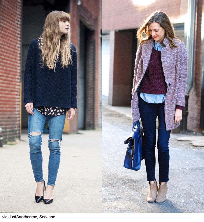 How to wear shirt knit skinny jeans blue is in for Dress shirts that go with jeans