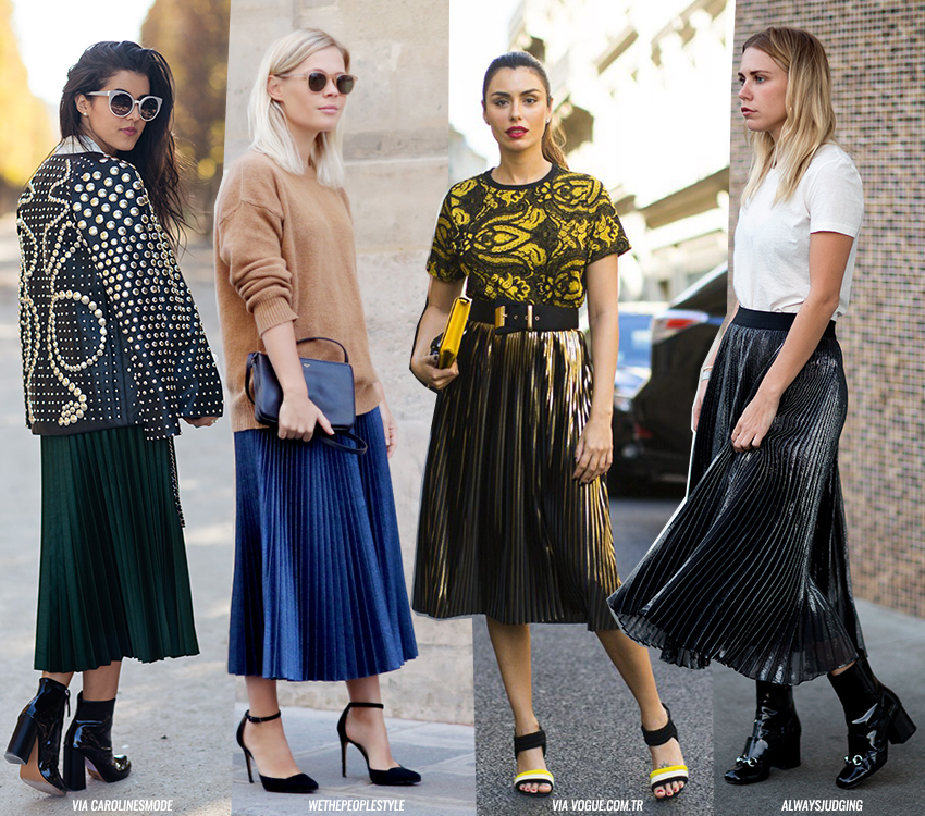pleated skirts blue is in fashion this year