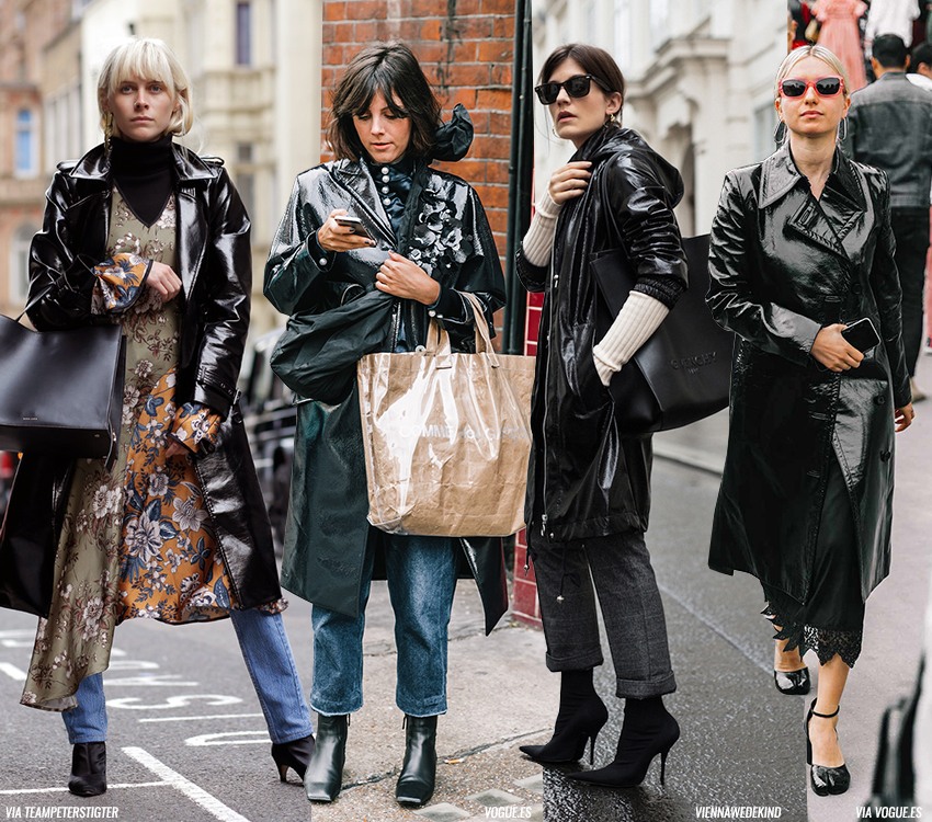 How To Wear A Vinyl Trench Coat Blue Is In Fashion This Year